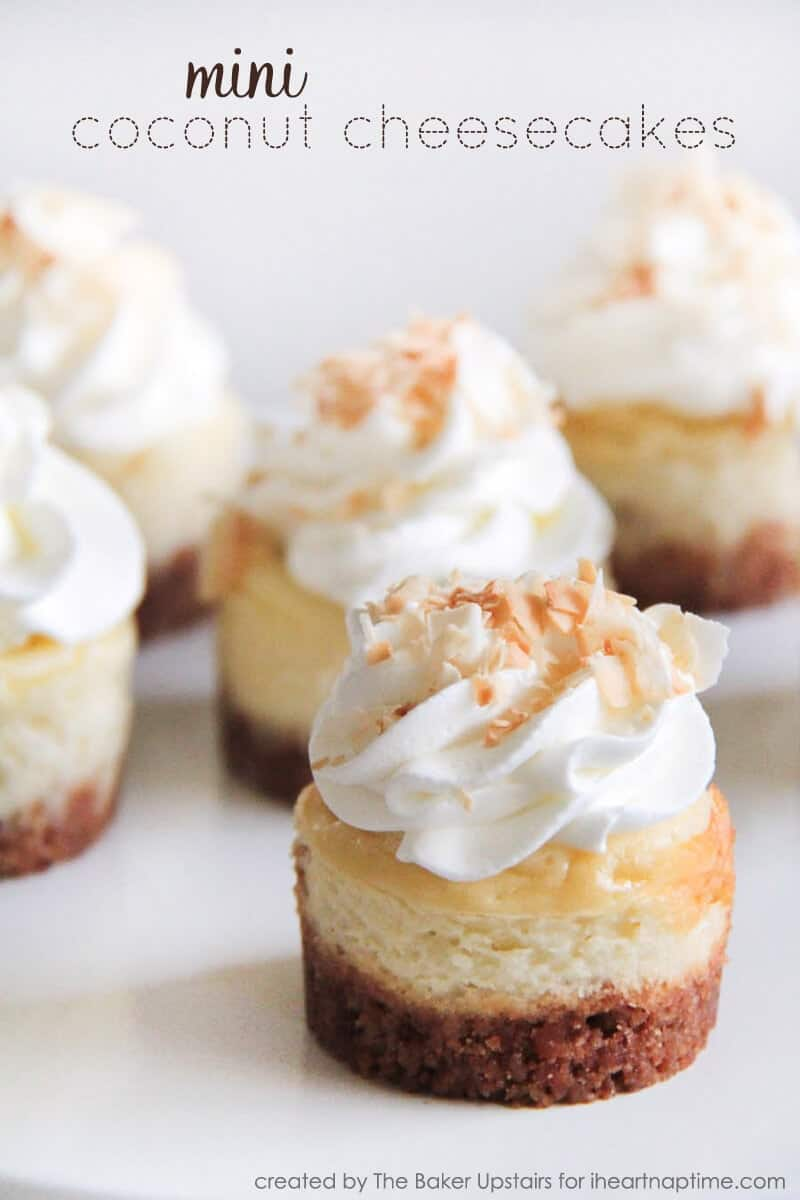 Mini Coconut Cheesecakes on iheartnaptime.com