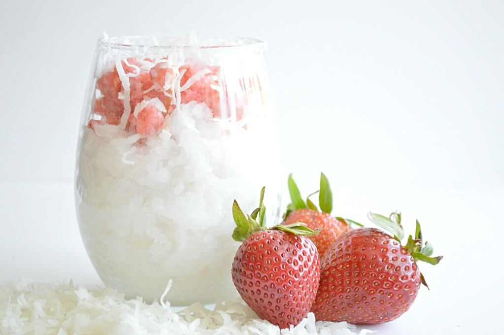 strawberry and coconut shaved ice