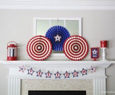 4th of July mantel and free printables