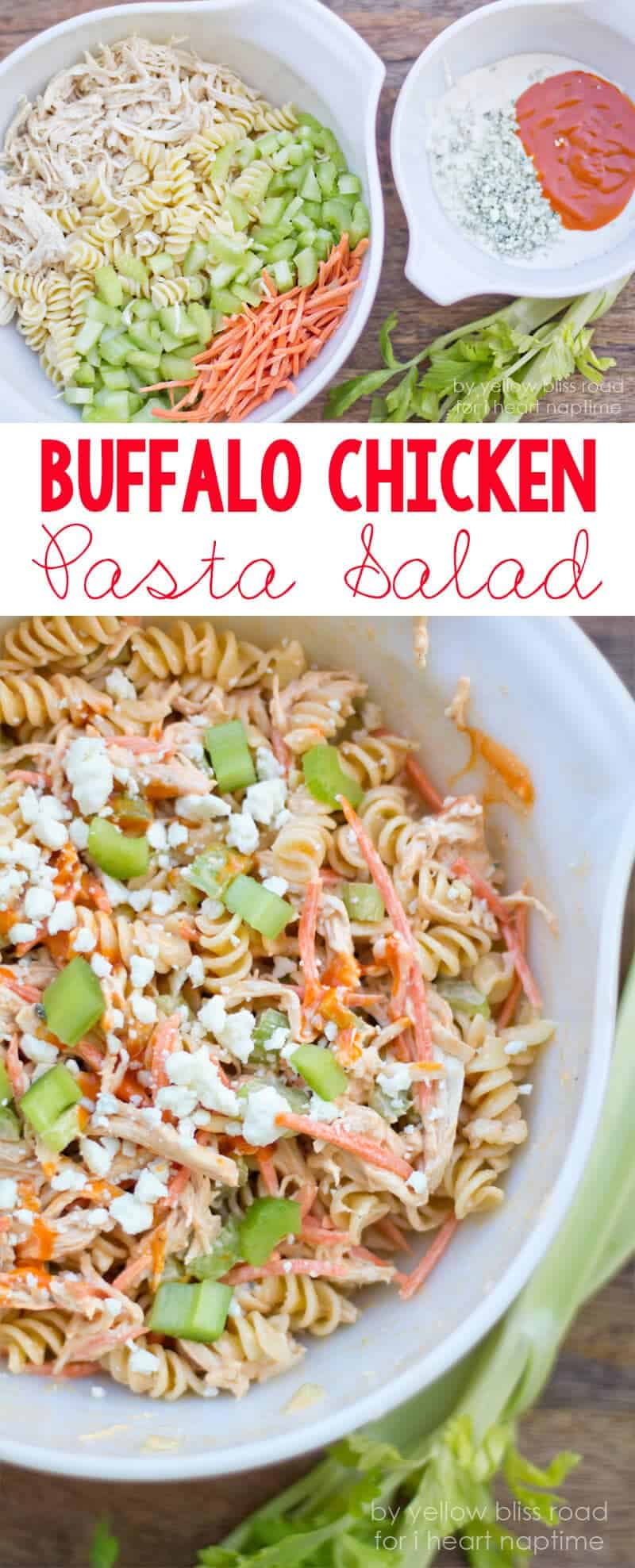 Buffalo Chicken Pasta Salad on iheartnaptime.com