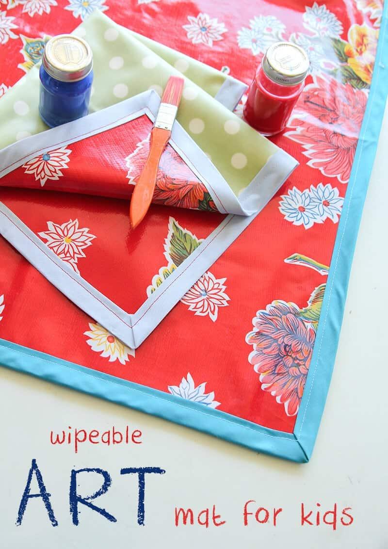 Wipeable Art Mat For Kids I Heart Nap Time