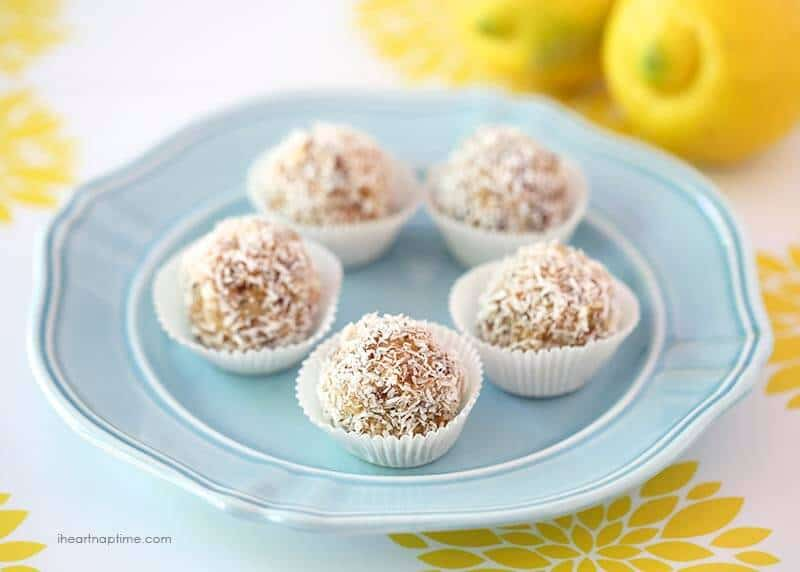 Lemon Coconut Protein Energy Balls Recipe: mix 6 simple ingredients together to make my favorite energy balls in minutes!