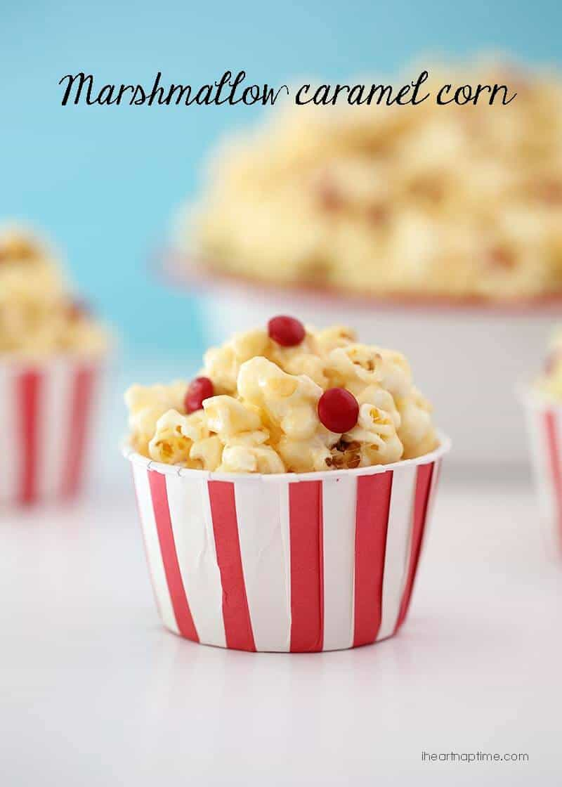 Marshmallow caramel corn for the 4th of July