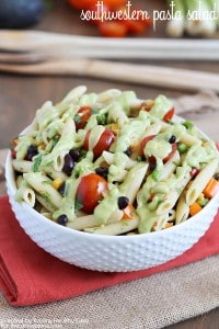 Southwestern Pasta Salad - healthy pasta salad full of veggies with a delicious creamy avocado dressing!