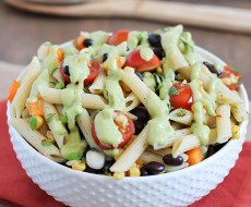 Southwestern Pasta Salad - healthy pasta salad full of veggies with a delicious creamy avocado dressing.