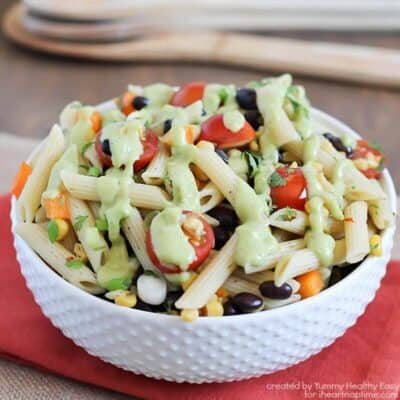 Southwestern Pasta Salad - healthy pasta salad full of veggies with a delicious creamy avocado dressing.