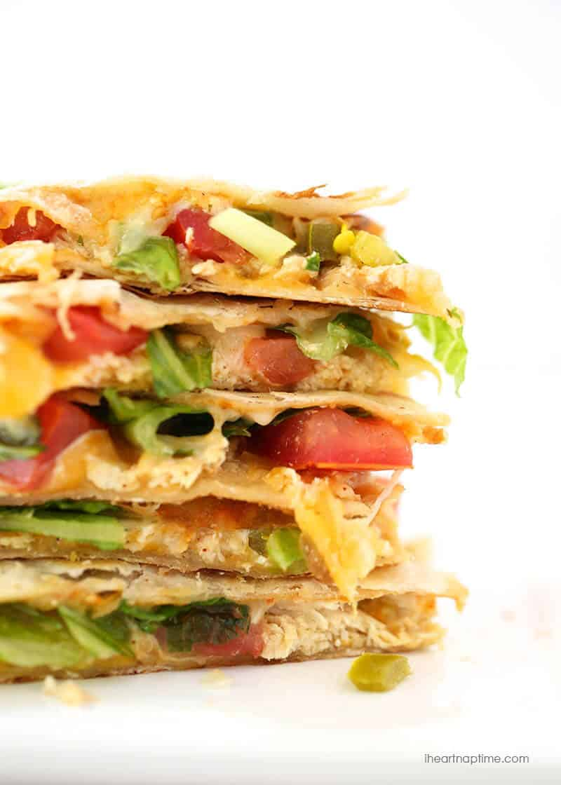 stacked chicken quesadilla sandwich