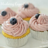 frosted lemon blueberry cupcakes on plate