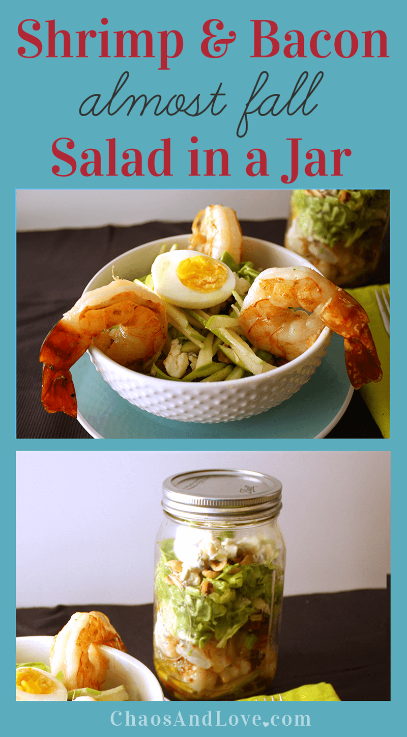 Shrimp and Bacon Salad in a Jar from Chaos and Love on iheartnaptime.com