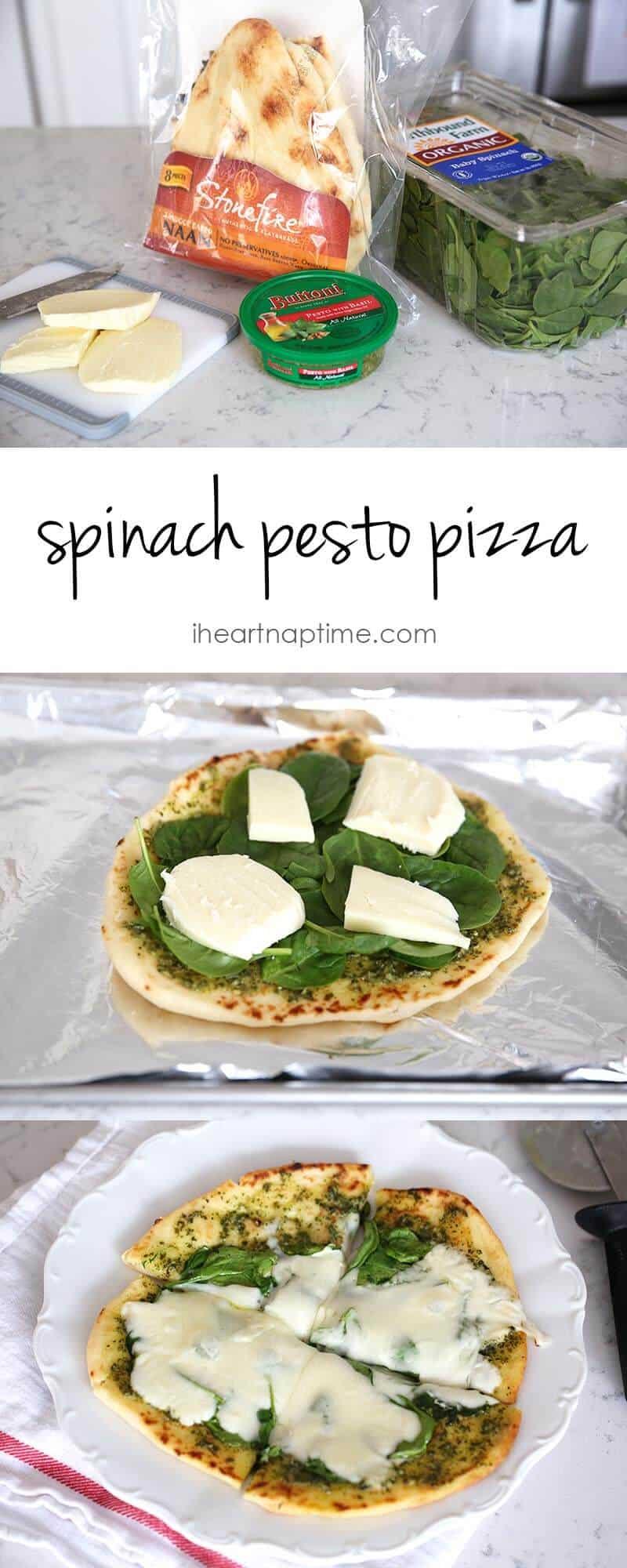 Spinach pesto pizza recipe