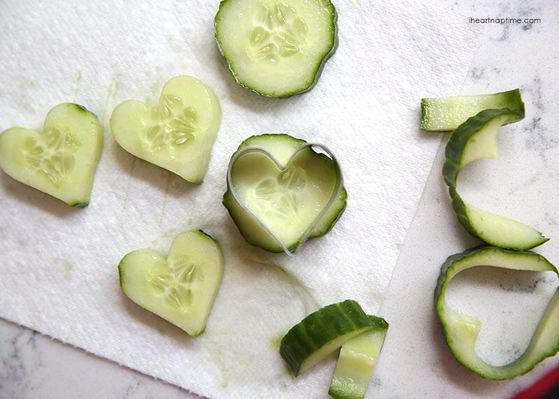 Tip: Use a cookie cutter to cut the skin off cucumbers. Super simple way to dress things up a bit for parties, showers or even a summer time picnic.