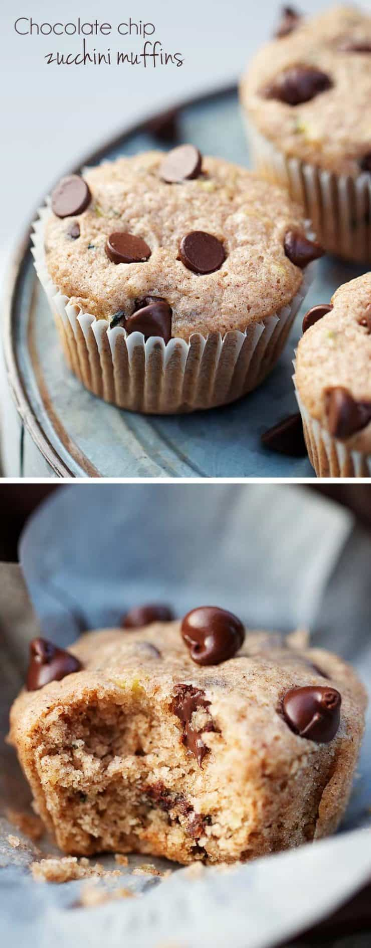 Chocolate chip zucchini muffins -super soft and jam packed with flavor! One of my family's favorite recipes!