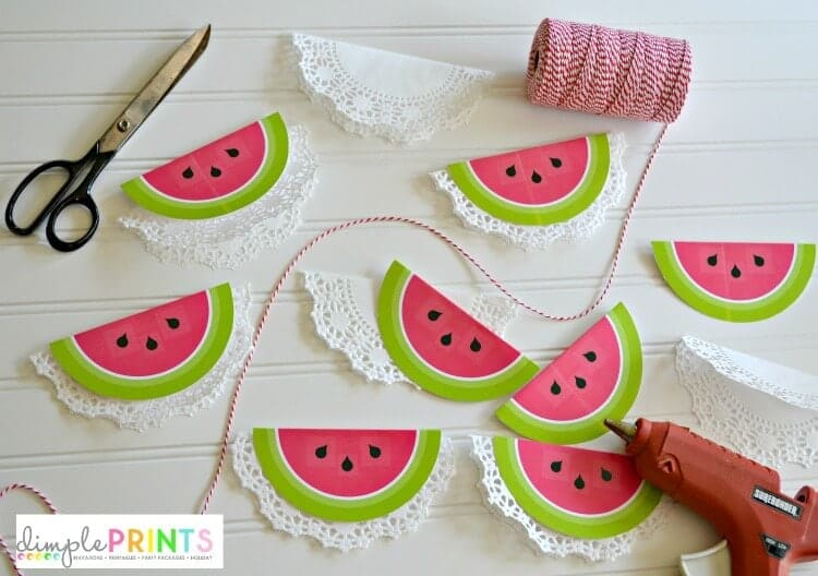 printable watermelon garland from DimplePrints supplies