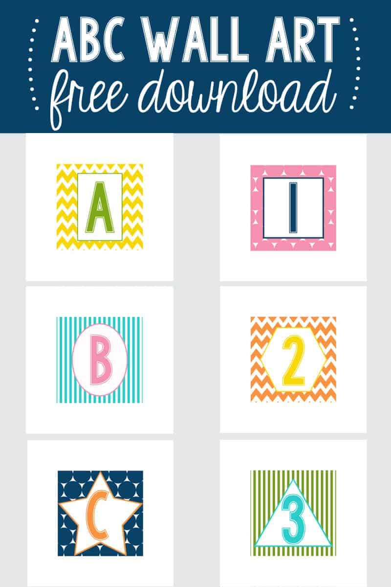 Elegant ABC wall art free downloads on iheartnaptime kids playroom