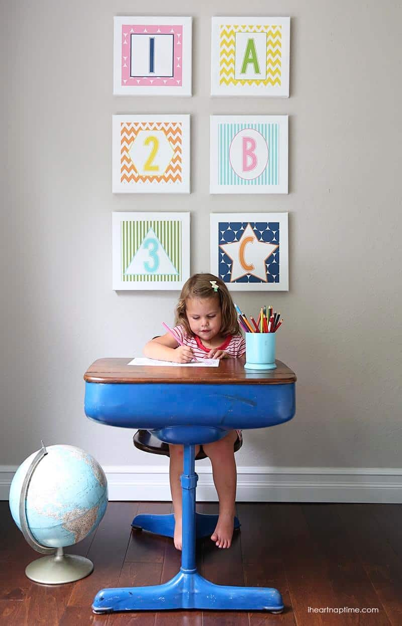 ABC wall art free downloads on iheartnaptime.com #kids #playroom