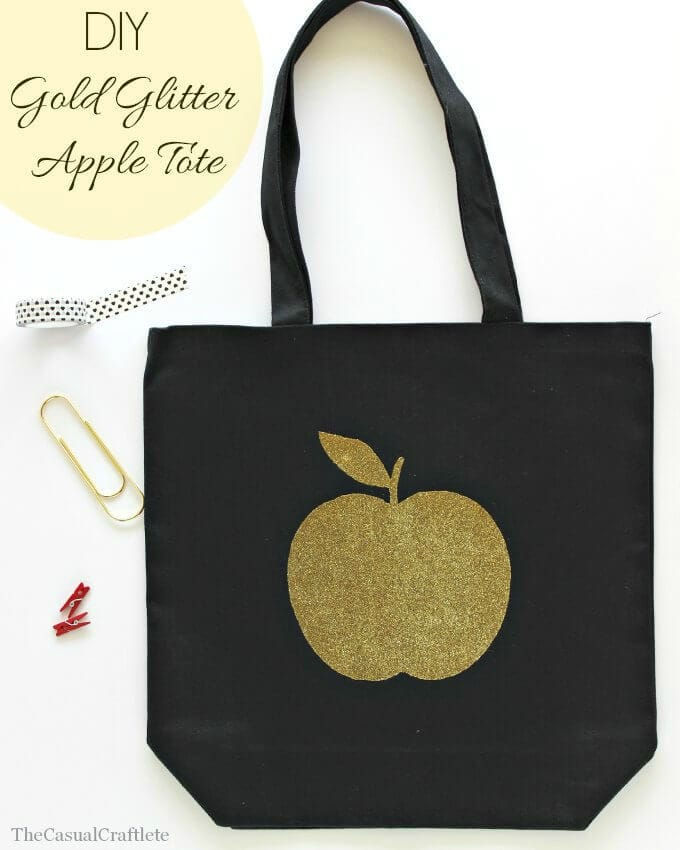 DIY-Gold-Glitter-Apple-Tote-by-www.thecasualcraftlete.com_