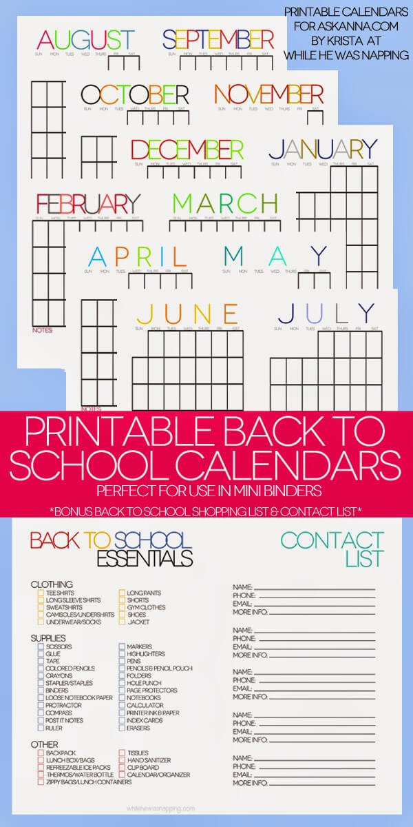 Free 2014-2015 Back to School Printable Calendars