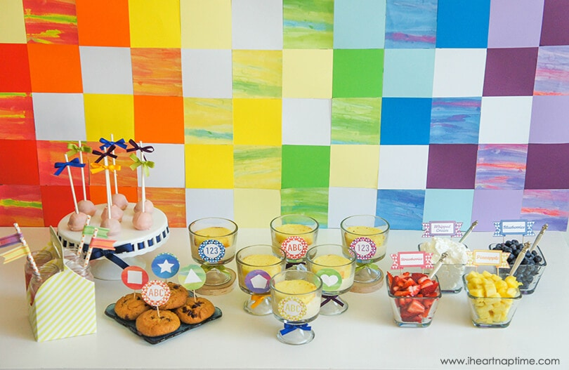 Back to School Watercolor Dessert Table on www.iheartnaptime.com #desserttable