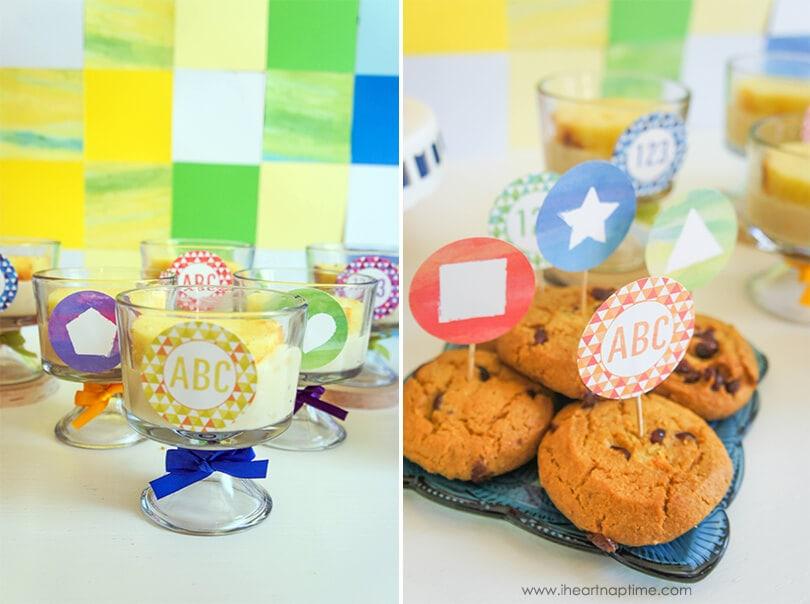 Back to School Watercolor Dessert Table on www.iheartnaptime.com  #desserttable