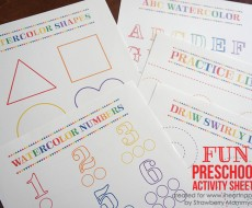 Watercolor Preschool Activity Sheets on www.iheartnaptime.com #preschool #freeprintables