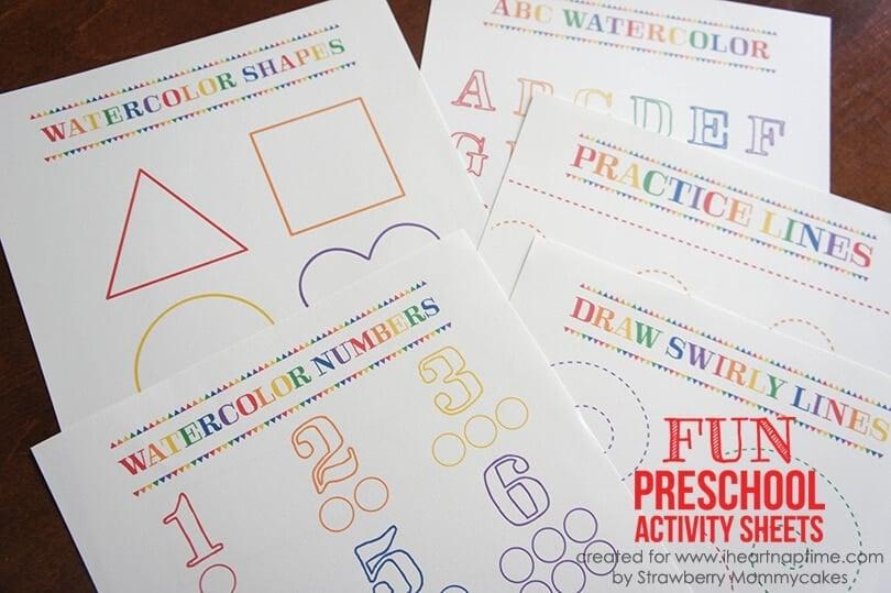 Watercolor Preschool Activity Sheets
