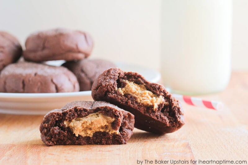 Peanut Butter Stuffed Chocolate Cookies on iheartnaptime.com