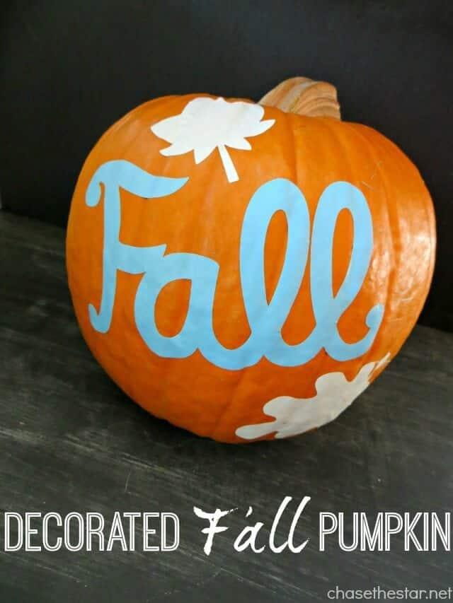 Decorated-Fall-Pumpkin-via-Chase-the-Star-pumpkin-cricut-vinyl-fall-autumn-Thanksgiving-craft-decor