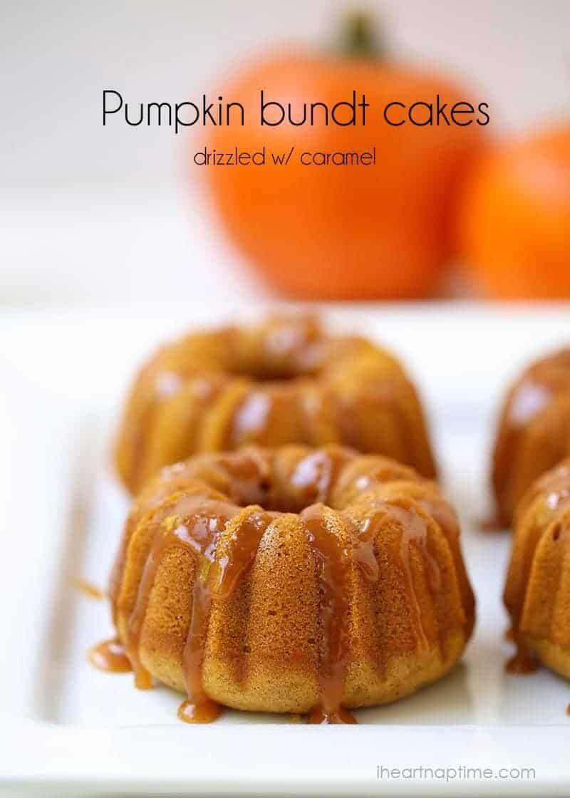 Pumpkin bundt cakes with caramel