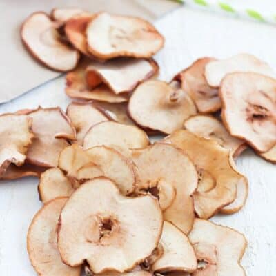 baked apple chips on a table