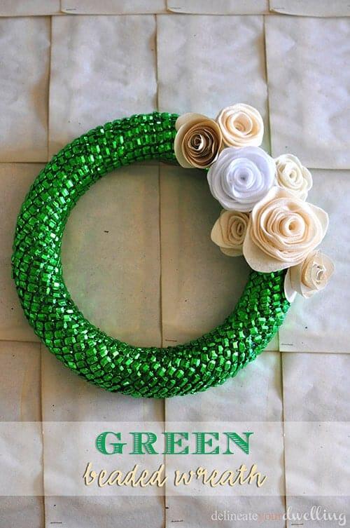 green beaded wreath