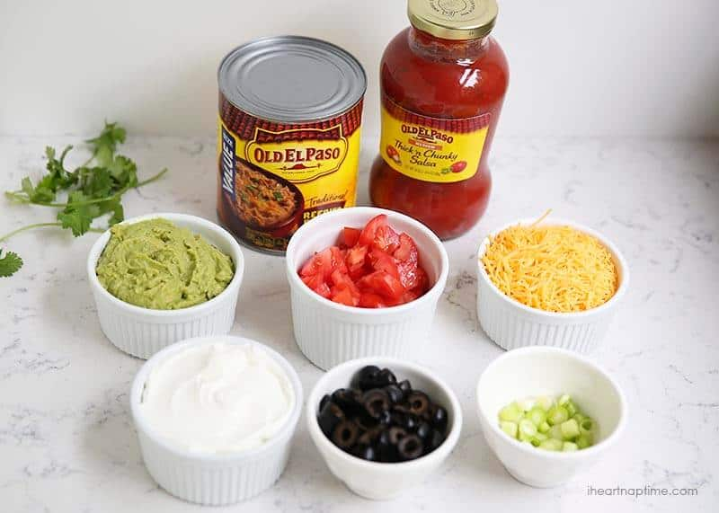 Ingredients for 7 layer bean dip