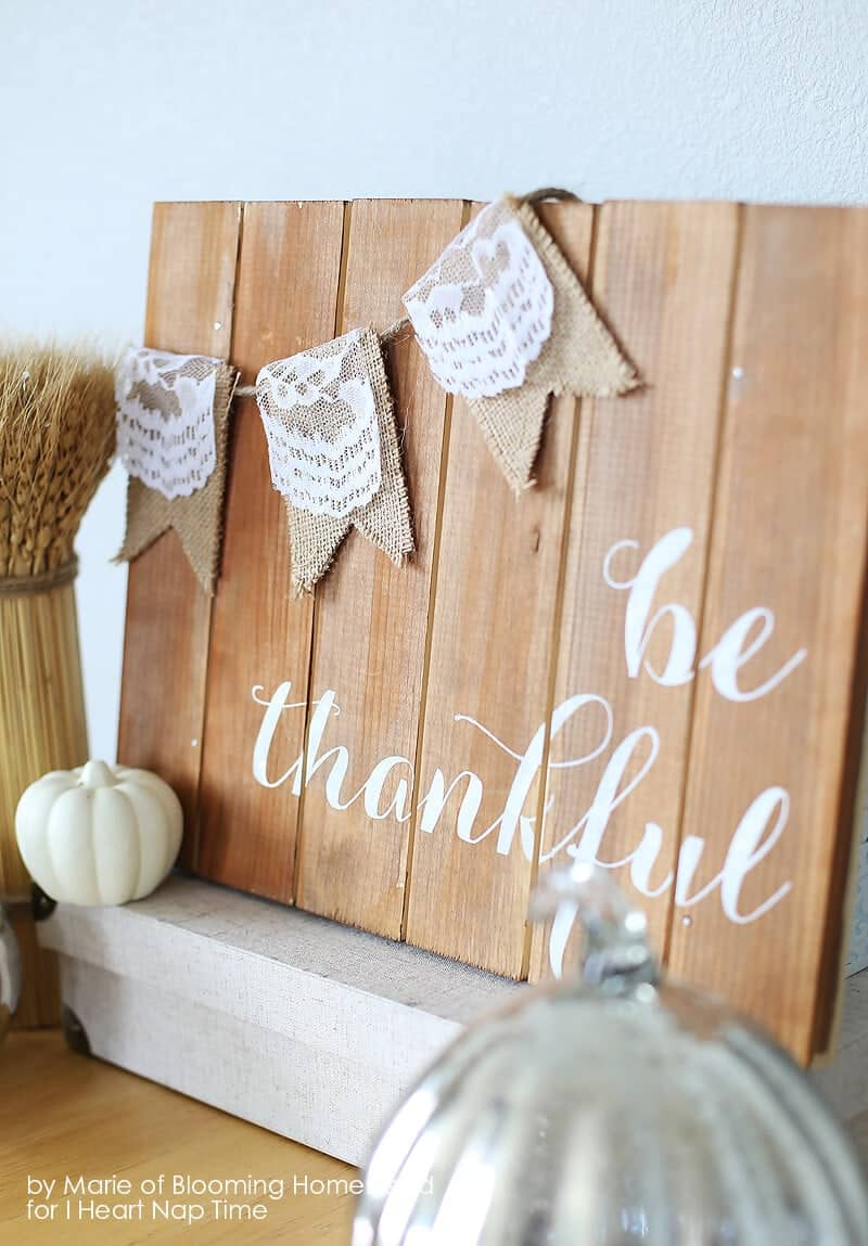 Be Thankful Wood Sign on iheartnaptime.com