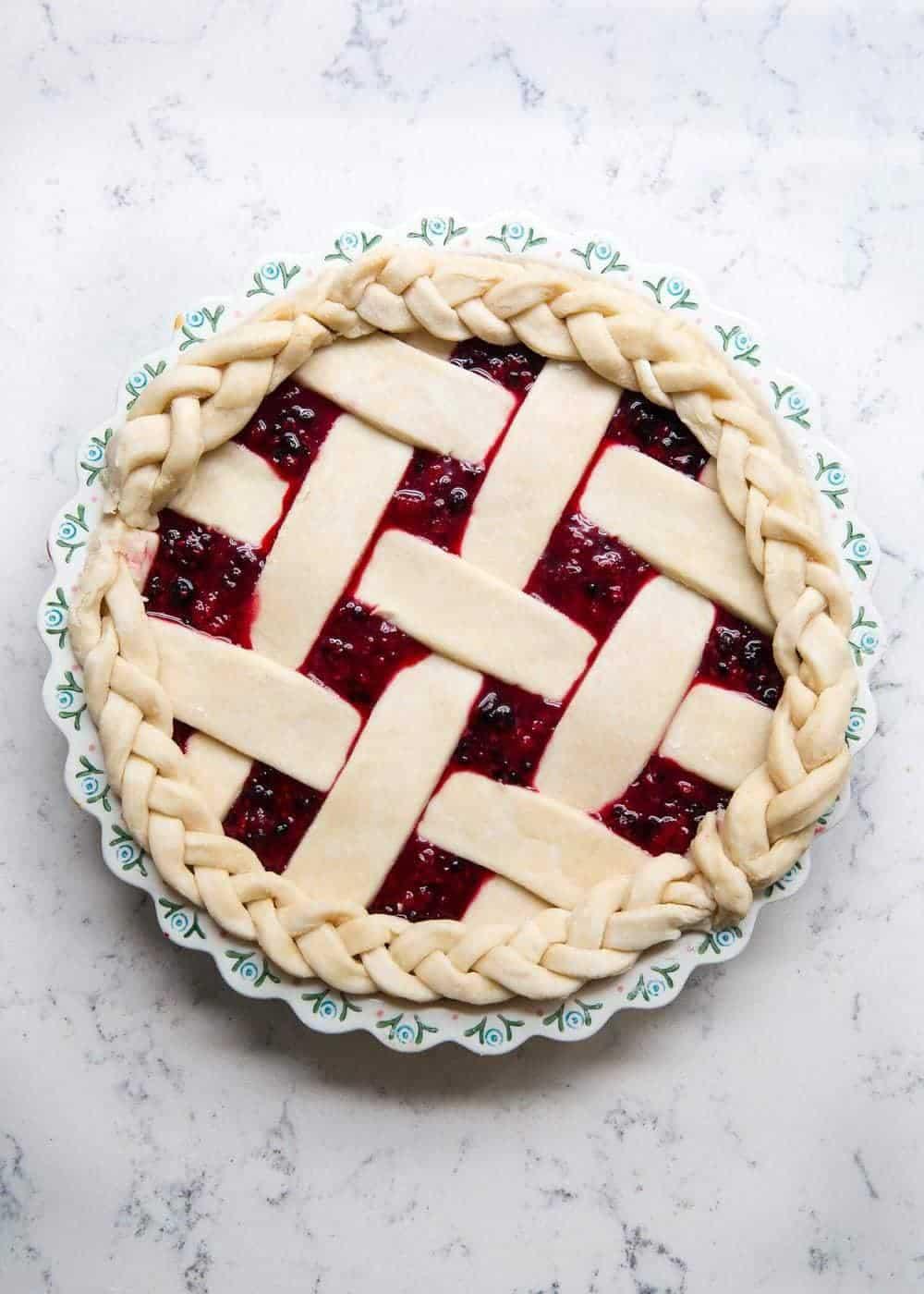 unbaked razzleberry pie with lattice crust