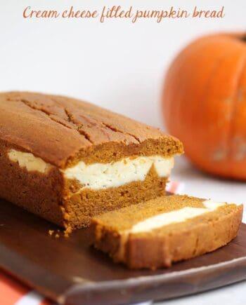 cream cheese pumpkin bread on a cutting board