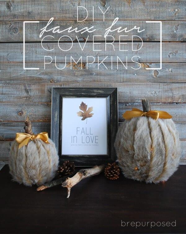 DIY Faux Fur Pumpkins