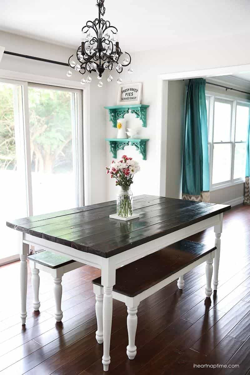 White and grey kitchen makeover i heart nap time for Farmhouse style kitchen table