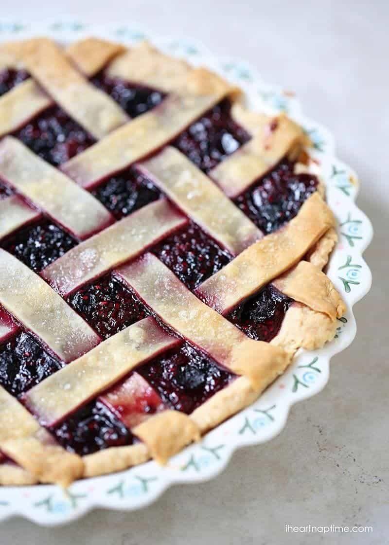 homemade razzleberry pie with lattice crust