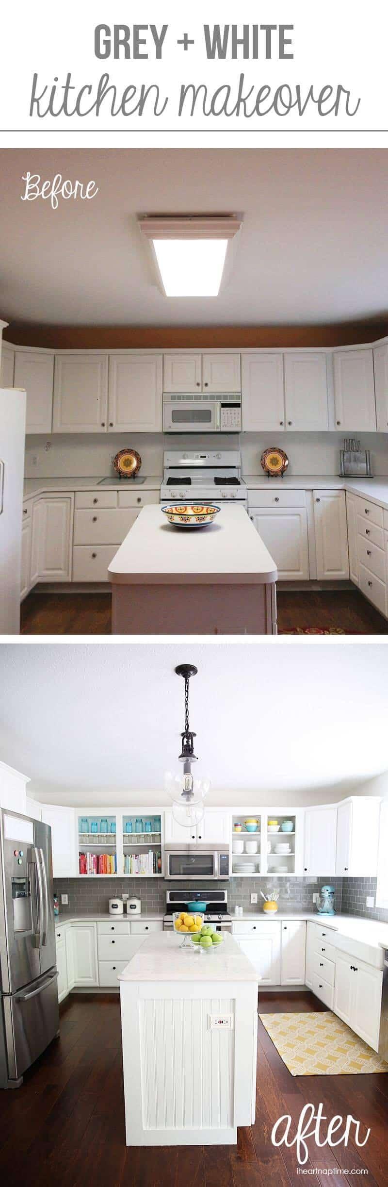 White Kitchen Makeovers white and grey kitchen makeover - i heart nap time