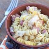 chicken cordon bleu pasta in bowl