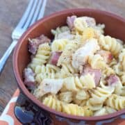 chicken cordon bleu pasta in bowl