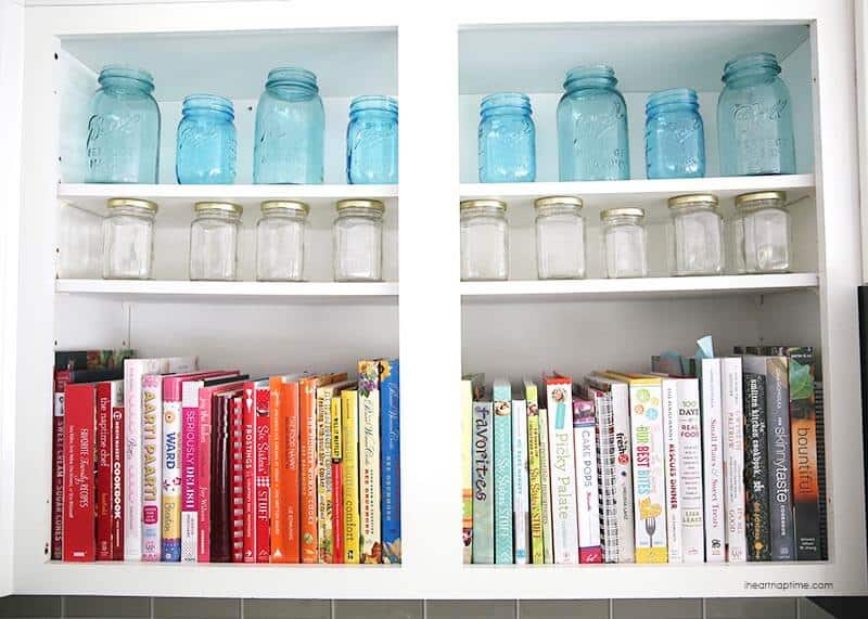Organized cook books by color -love!