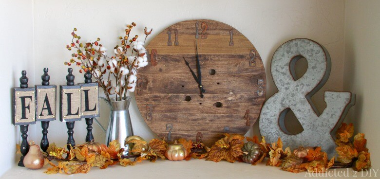 fall fireplace decorating