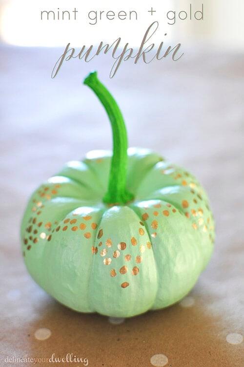 mint green and gold pumpkin