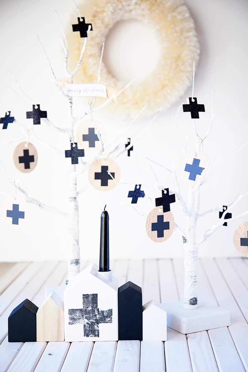 DIY swiss wooden ornaments