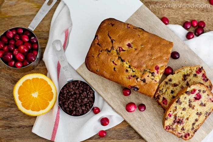 Cranberry Orange Chocolate Chip Bread by Yellow Bliss Road on iheartnaptime.com