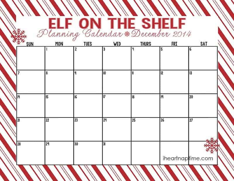 Blank Elf on the Shelf Calendar
