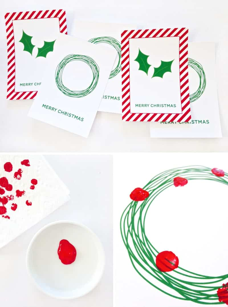 Free Printable Fingerprint Holly Cards by Paging Supermom on iheartnaptime.com