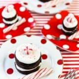 mini peppermint chocolate cakes on plates