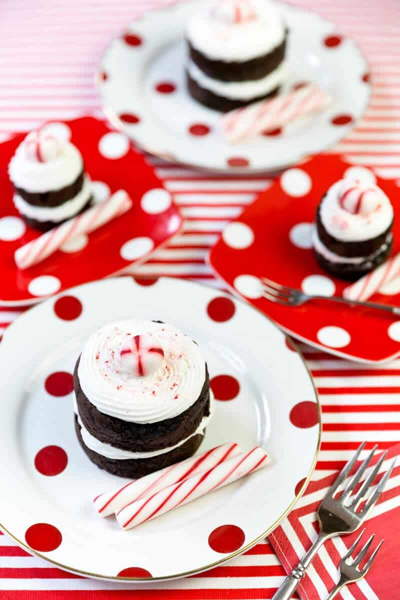 Peppermint Chocolate Mini Cakes by Pizzazzerie on iheartnaptime.com