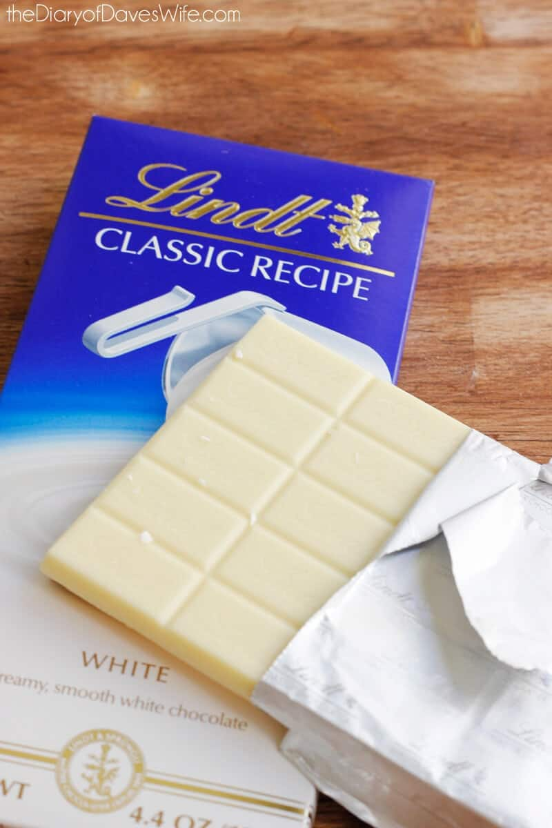 white chocolate bar sitting on wood counter